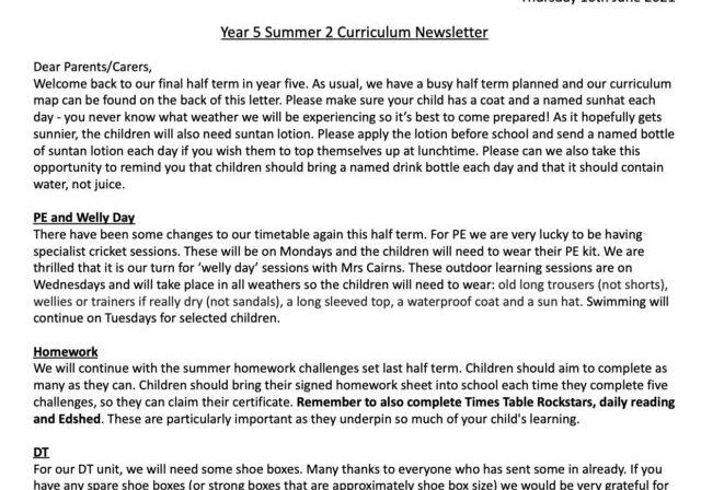 Y5 Curriculum Letter Summer 2